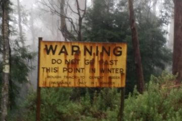 Mt Donna Buang warning sign